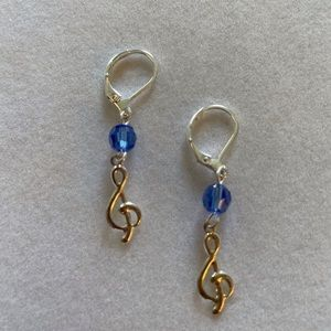 Treble Clefs with Swarovski Crystals Earrings